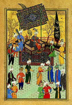 Khusrau on his throne