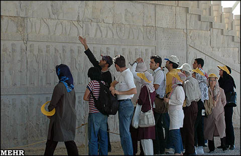Tourists at the historic Persepolis site in Shiraz