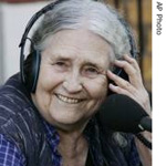 British writer Doris Lessing talks to a radio station, shortly after she hear news of the award, in London, 11 Oct 2007