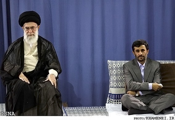 Ali Khamenei and Mahmud Ahmadinejad