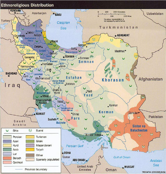 Iran's ethnoreligious distribution map