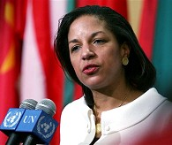 Susan Rice, the new US Ambassador to the United Nations, speaks during her first official press briefing at UN headquarters in New York, 26 Jan. 2009