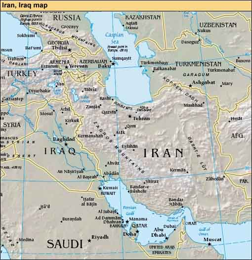 map of iran and neighboring countries. meeting of Iran-Iraq joint