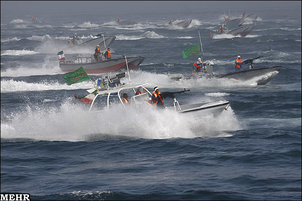 IRGC speedboats during war games in Persian Gulf - April 2010
