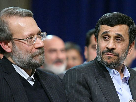 Mahmoud Ahmadinejad and Ali Larijani