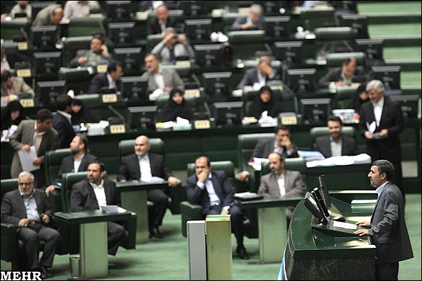 Ahmadinejad attended the Parliament to defend his nominees