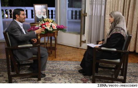 Mahmoud Ahmadinejad during interview with Almenar