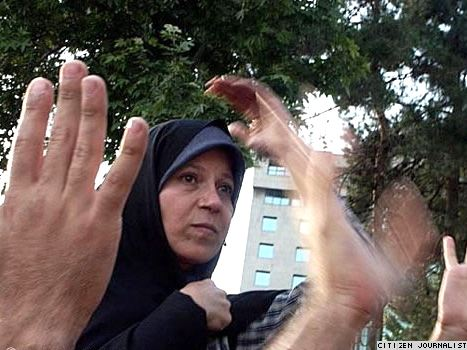 Faezeh Hashemi during a protest rally in Tehran in June 2009