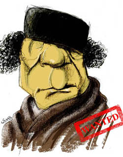Caricature of Gaddafi