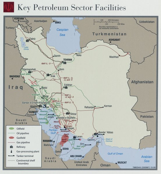 Iran Oil and Gas map, 2009