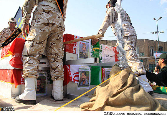 Funeral in Qom for some of the IRGC personnel who died fighting with PJAK - July 2011