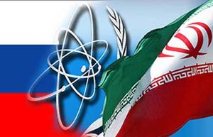 Iran, Russia flags -- nuclear program