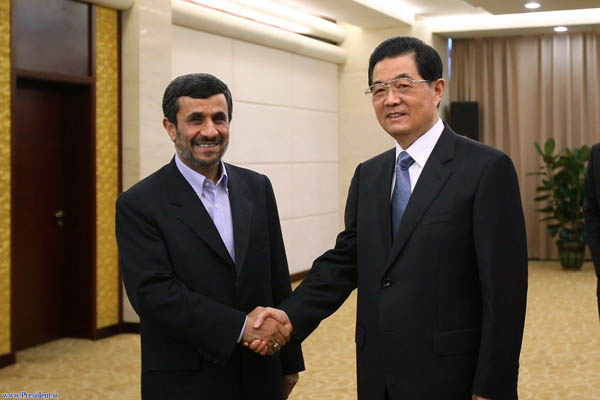 Mahmoud Ahmadinejad with Chinese President Hu Jintao