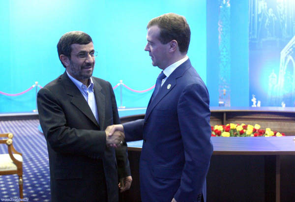 Mahmoud Ahmadinejad with Russian President Dmitry Medvedev