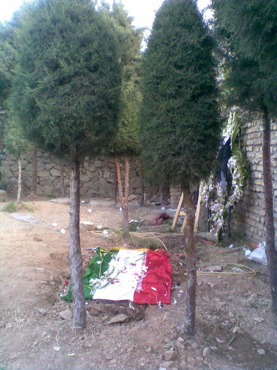 Haleh Sahabi's grave covered by Iran's flag