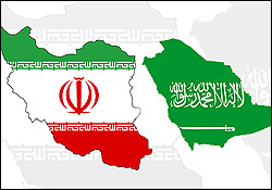 Iran and Saudi Arabia maps & flags