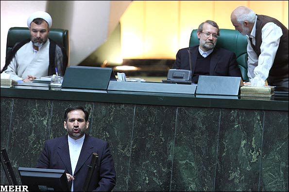 Shamseddin Hosseini speaking at the Parliament