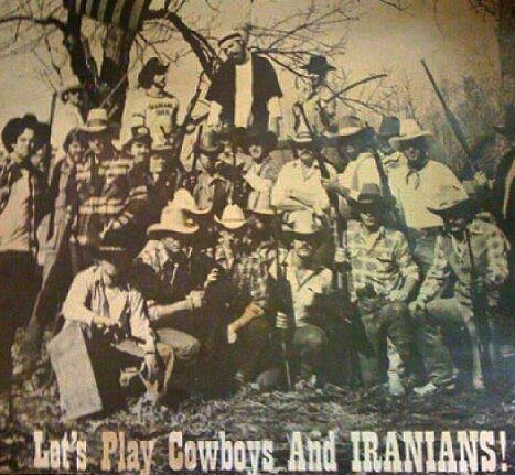 Let's Play Cowboys and Iranians poster in BBQ restaurant in Katy, Texas