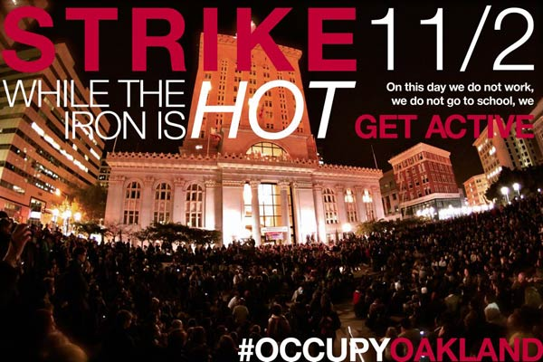 """Occupy Oakland"" poster invites people to a strike"