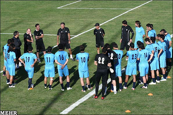 Iran football coach Carlos Queiroz during a practice session