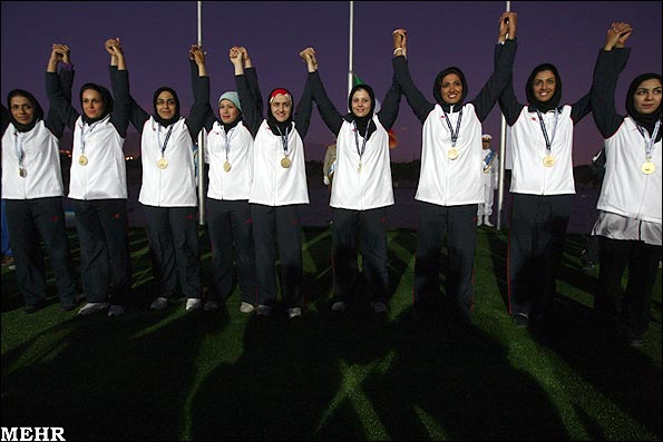 Iranian women canoe polo team