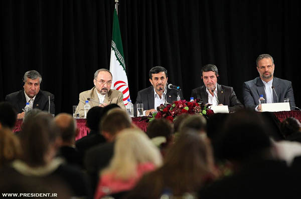 Iranian President Mahmoud Ahmadinejad, President of the Islamic Republic of Iran during a press conference in New York, September 23, 2011