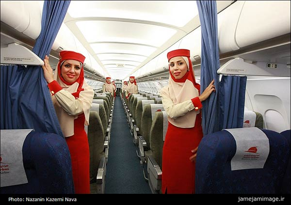 female air france cabin crews protest head scarves on iran