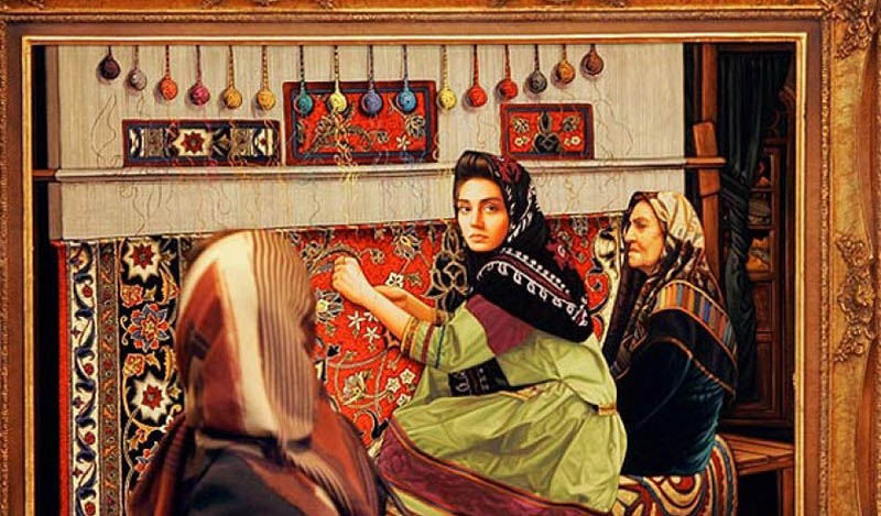 A hand-woven piece depicting a family of carpet weavers in Iran