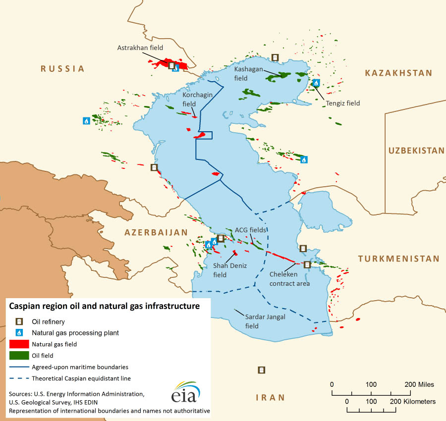 The Caspian sea was divided